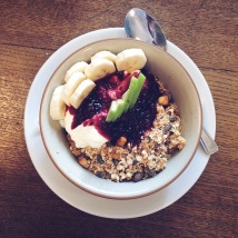 Spelt granola with Greek yoghurt, banana, apple and berry compote