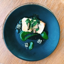 Halibut with truffle, sorrel purée, mushroom, sesame and cucumber
